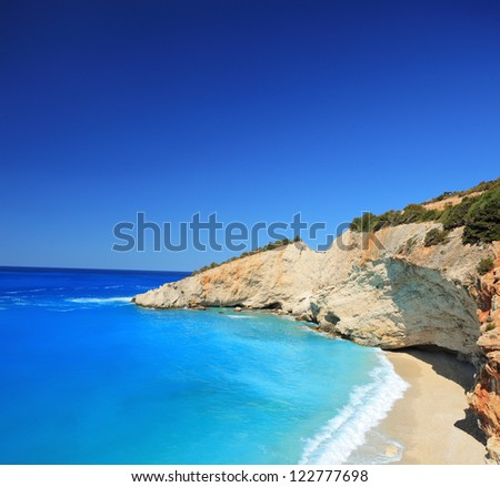 Sunny day at the famous Porto Katsiki beach on the island of Lefkada, Greece, shot with a tilt and shift lens - stock photo