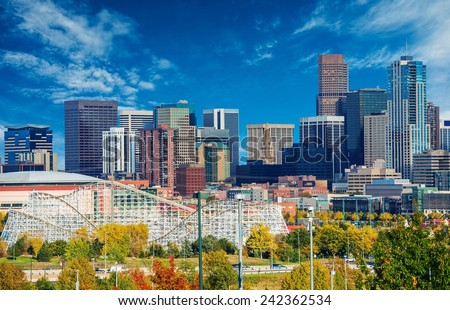 Sunny Day in Denver Colorado, United States. Downtown Denver City Skyline and the Blue Sky. - stock photo