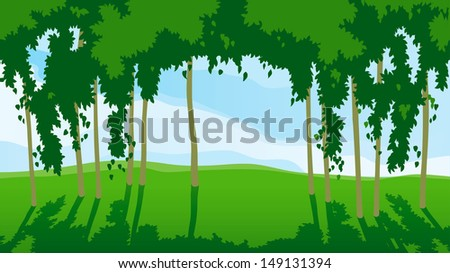 Sunny day in forest. Horizontal landscape with green trees and blue cloudy sky