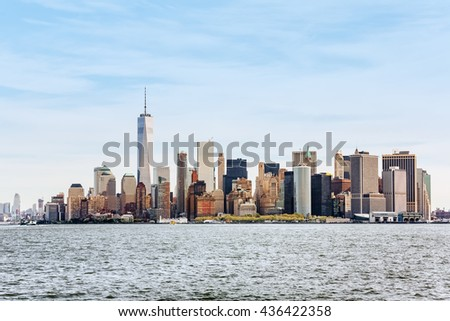 Sunny day in New York. View of Manhattan skyline in New York City, USA