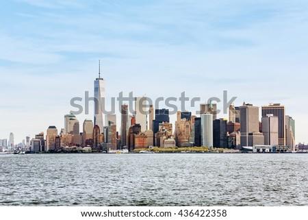 Sunny day in New York. View of Manhattan skyline in New York City, USA - stock photo