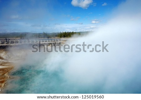 Sunny day in Yellowstone National Park, Wyoming, United States - stock photo