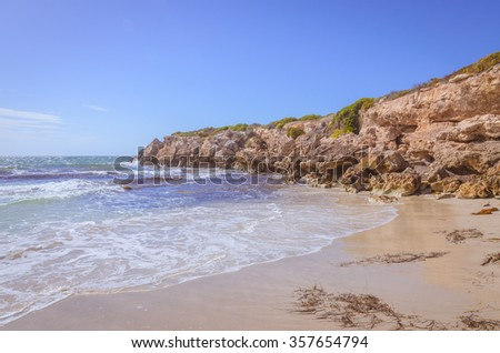 Sunny day landscape coast line cliffs at the beach
