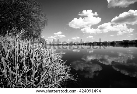 Sunny day on a calm river in summer (Vistula River , Poland, Europe). Black and white. - stock photo