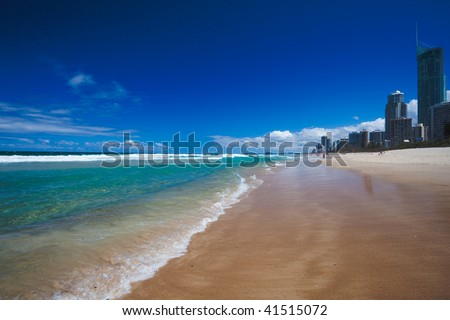 Sunny day on Surfers Paradise beach, Gold Coast, Queensland, Australia - stock photo