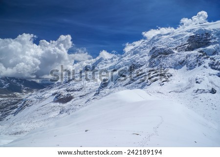 Sunny day on the peaks of south american Andes in Peru, Ausangate