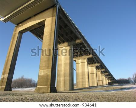Sunny Day under the Bridge - stock photo
