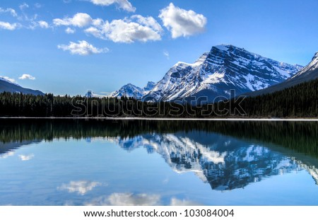 Sunny days in Banff National Park, Alberta. Taken from the shores of  Waterfowl Lake. - stock photo
