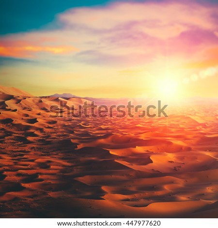 Sunny desert, abstract ecological and environmental backgrounds - stock photo