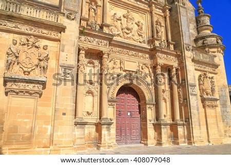 Sunny facade and the entrance to El Salvador chapel in Ubeda, Andalusia, Spain - stock photo