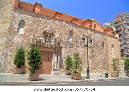 Sunny facade of the old church of San Augustin, Valencia, Spain