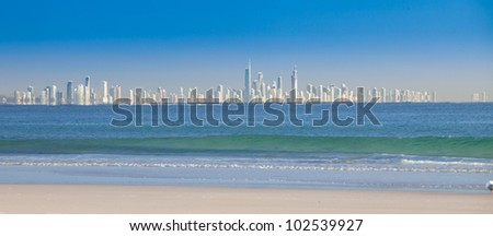 Sunny Gold Coast, view over the water from Coolangatta