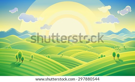 Sunny hilly landscape. Raster illustration can be used as background. Raster illustration. - stock photo