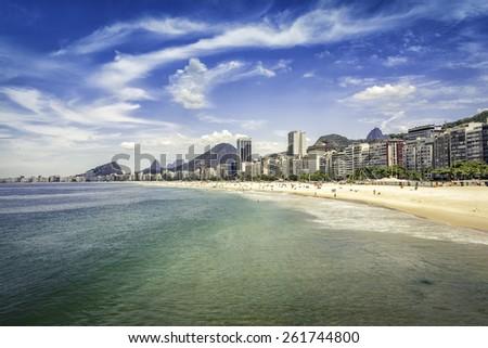 Sunny hot day on Copacabana Beach in Rio de Janeiro, Brazil - stock photo