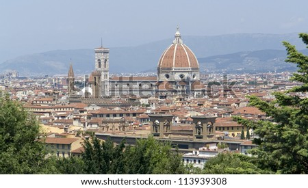 sunny illuminated panoramic view of Florence in Tuscany (Italy)