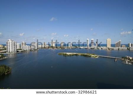 Sunny Isles and Aventura at north Miami Beach - stock photo
