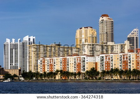 SUNNY ISLES BEACH, FL - JANUARY 1 2016: Skyline of the Sunny Isles Beach city located on a barrier island in northeast Miami-Dade County, Florida, often referred to as Florida's Riviera. - stock photo