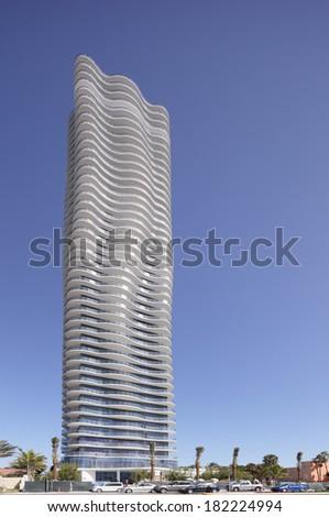 SUNNY ISLES BEACH - MARCH 15, 2014: Regalia Condominium Sunny Isles Beach. The Regalia features each floor as a full floor penthouse having 360 views.  - stock photo
