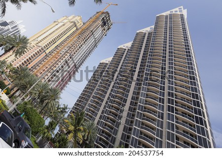 SUNNY ISLES BEACH - MARCH 17: Stock photo of the Pinnacle built in 2005 consists of 40 floors and 243 units in Sunny Isles Beach March 17, 2014. Miami, Florida - stock photo