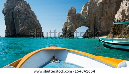 Sunny Lover's Beach in Cabo San Lucas, Mexico from Simple Tourist Boat - stock photo