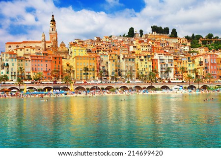 sunny Menton, south of France - stock photo