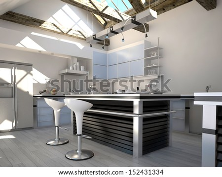 Sunny modern kitchen interior with two bar stools - stock photo