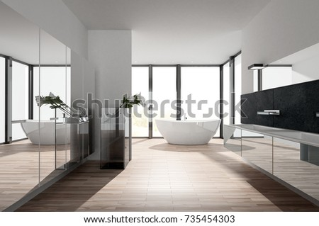 Sunny Modern Luxury Bathroom With A Mirror Wall And A Long Wall Mounted  Vanity Unit