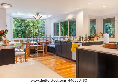 Sunny morning in eating area in remodeled kitchen - stock photo