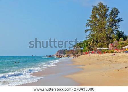 Sunny morning on Lamai beach.Koh Samui. Thailand. - stock photo