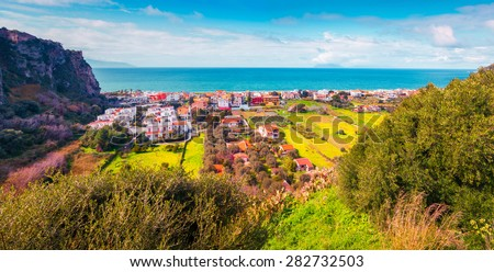 Sunny morning panorama of the Addolorata district of Milazzo town, Sicily, Italy, Mediterrhenian sea, Europe.
