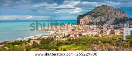 Sunny morning panorama of the town Cefalu with Piazza del Duomo, Sicily, Italy, Tyrrhenian sea, Europe. - stock photo