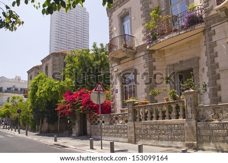 Sunny morning street in Historical Part Of Tel-Aviv - Neve Zedek.Israel - stock photo
