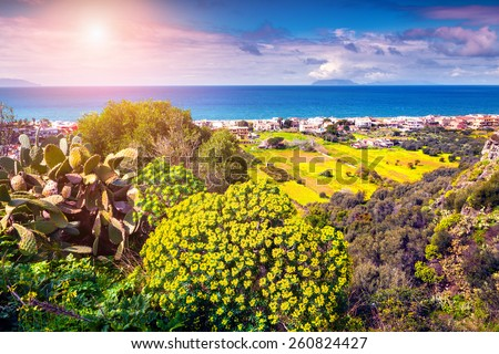 Sunny morning view of the Addolorata district of Milazzo town, Sicily, Italy, Tyrrhenian sea, Europe.