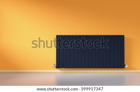 sunny room with a modern radiator on a orange wall (3d render)