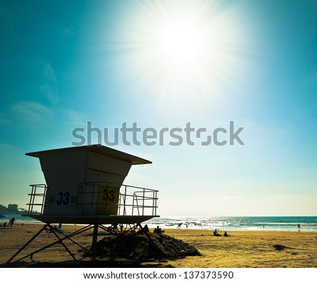 Sunny San Diego Beach, Southern California USA - stock photo