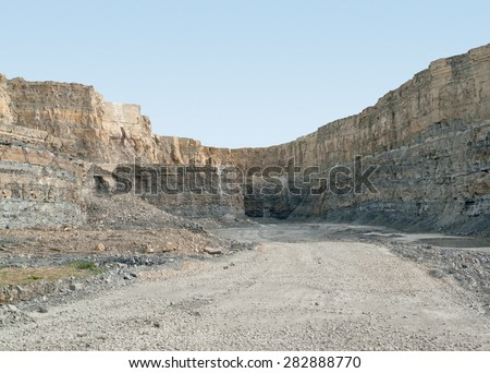 sunny scenery at a gravel quarry in Southern Germany - stock photo