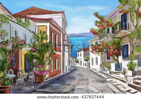 sunny seaside in Greece. painted hands. - stock photo