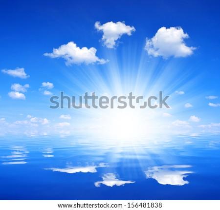 sunny sky above sea  - stock photo