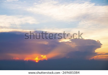 Sunny sky abstract background, beautiful cloudscape, on the heaven - stock photo