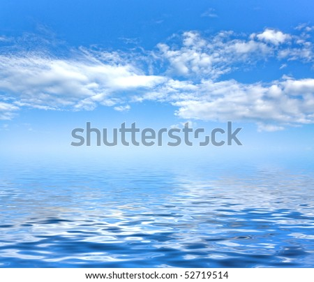 Sunny sky background and sea