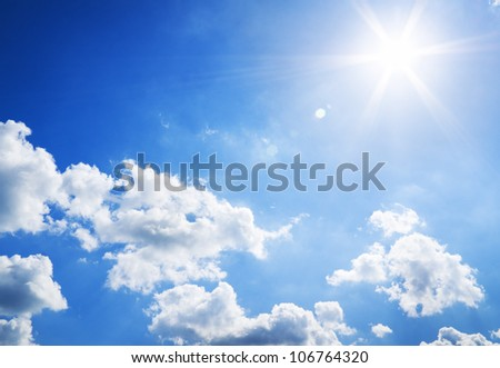 sunny sky background. Nature composition. - stock photo