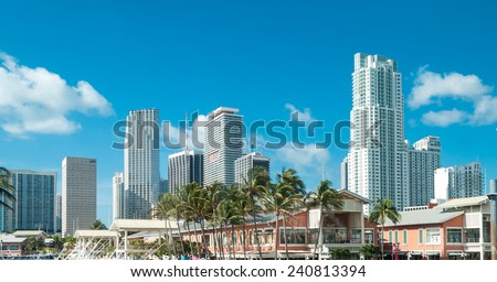 Sunny sky of Miami. City buildings and skyline.