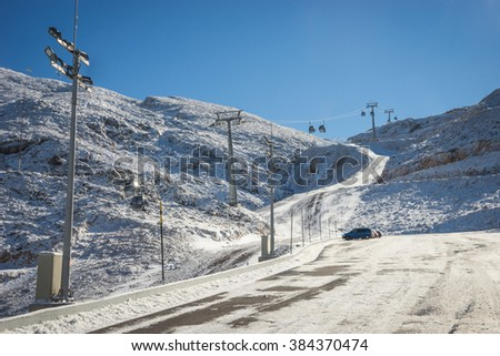Sunny snowy weather on Mount Parnassos in central Greece