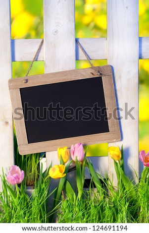sunny spring background with fence and beautiful Tulips with a chalkboard for text, Empty Sign for message - happy easter