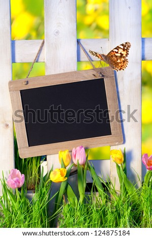 sunny spring background with fence and beautiful Tulips with a chalkboard for text, Empty Sign for message