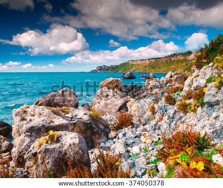 Sunny spring scene in the harbor and cape Milazzo with nature reserve Piscina di Venere, province of Messina, Sicily, Italy, Europe. Mornning on Mediterranean sea. - stock photo