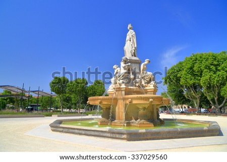 Sunny square around the Pradier Fountain, Nimes, Languedoc Roussillon, France