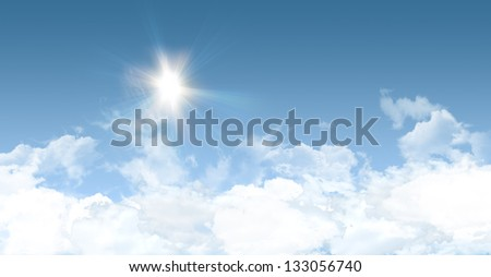 Sunny summer background with clear blue sky - great copy-space for posters, cards or banners - stock photo
