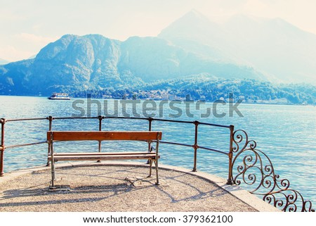 Sunny summer day at Como lake, Bellagio, Italy. - stock photo