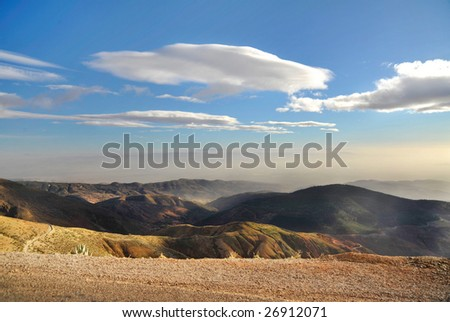 Sunny summer day in Atlas mountains - stock photo